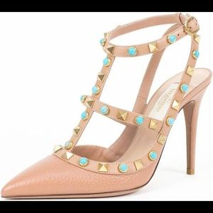 Valentino Leather Rockstud Rolling Turquoise Pumps